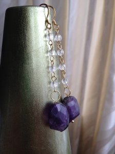 Genuine raw Amethyst, gold-plated sterling silver earrings £30