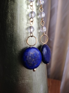 Genuine lapis lazuli, gold-plated sterling silver earrings £22